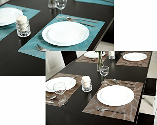 Tennove Placemats set of 6, Woven Vinyl Table Mats PVC Placemats for Kitchen Dining Table Decoration (Flower-Brown) by Tennove (Image #3)