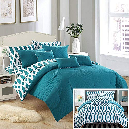 Chic Home 10 Piece Comforter Set King Teal