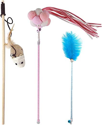 SMOOTHEDO Cat Feather Toys Set Cat Retractable Tassels Wand Fancy Marshmallow Style