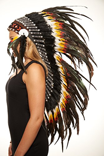 [Native American Standing Bear Headdress (Unisex Adult; One Size)] (Male Indian Chief Costume)