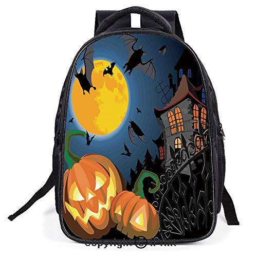 Backpack,L11.8xW6.3xH15.7inch,Gothic Halloween Haunted House Party Theme Decor Trick or Treat for Kids,Suitable for men and women -