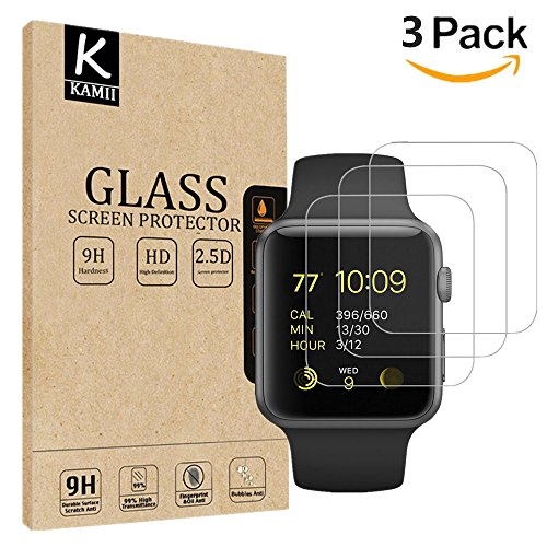 (3 PACK) KAMII Apple Watch Smart Watch Screen Protector (42mm Series 3/2/1 Compatible), [Tempered Glass] 9H Hardness HD Clear Anti-Scratch Bubble Free Easy Installation Screen - Glasses Waterproof