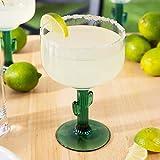 Margarita Glass with Jade like Cactus Stem (set of 4)