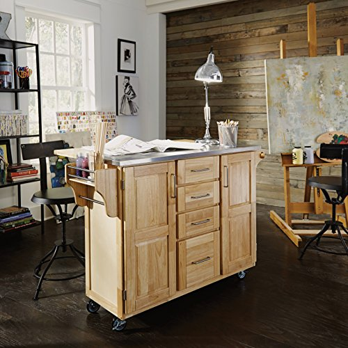 Home Styles 5086-95 Stainless Steel Top Kitchen Cart with Breakfast Bar, Natural Finish - smallkitchenideas.us