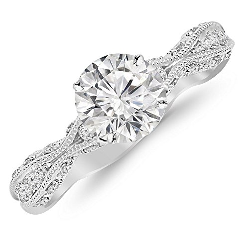 1.05 Ctw 14K White Gold GIA Certified Round Cut Channel Set Eternity Curving Diamond Engagement Ring, 0.75 Ct D-E SI1-SI2 Center