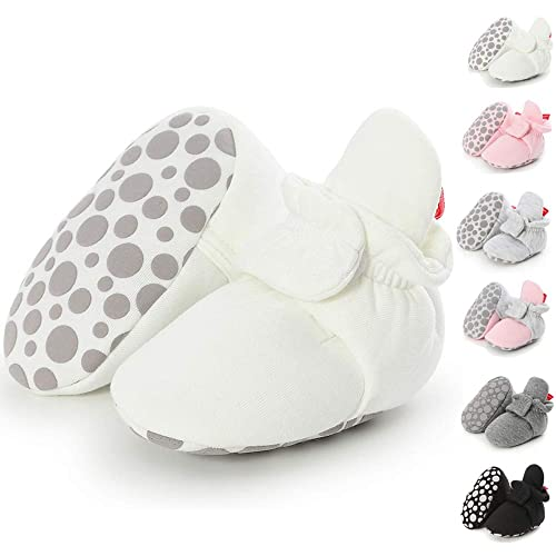 79600cca4e53a Sawimlgy US Infant Baby Girl Boy Soft Cotton Booties Non-Skid Bottom  Grippers Stay On Slippers Socks Shoes Toddler First Crib Booties