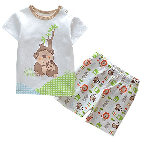 [JIAJIA Kids Summer Cotton T-shirts+ Pants Set Toddler Outfits Monkey 12 Months] (Monkey Outfits For Toddlers)