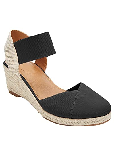 98a0ca1a72ffb Huiyuzhi Womens Platform Wedge Espadrille Closed Toe Buckle Strap Summer  Espedrilles Sandals