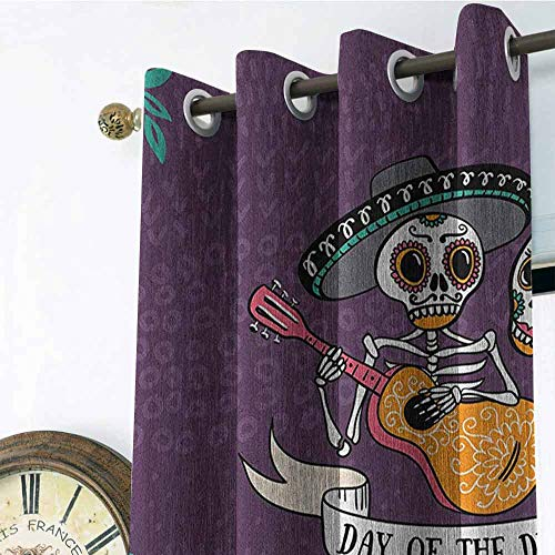 Day of The Dead Outdoor Gromets Curtain Drapes for Babys Room, Invitation to Traditional Celebration Party with Mexican Music Performance Household Darkening Curtains, Multicolor, W72 x L63 Inches]()
