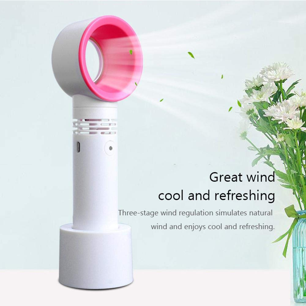 Volwco Bladeless Fan Premium Portable USB Rechargeable Handheld Mini Fan Personal Fan for Home//Desktop//Table//Bedroom//Outdoor Electric Battery Operated Cooler No Leaf Fan with 3 Speed Level