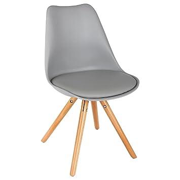 lot de 4 chaise scandinave couleur gris et bois pied en bois chaise design - Pied De Chaise Scandinave