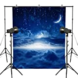 MUEEU 5x7ft Starry Night Moon Backdrops Scene Blue Sky Vinyl Seamless Fabric Photography Backgrounds Children Kids Baby Birthday Portrait -White Blue