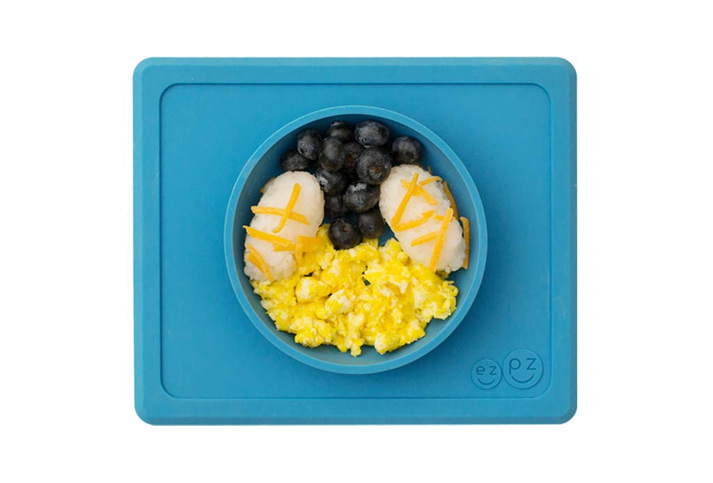 Blue ezpz Mini Bowl One-Piece Silicone placemat Bowl