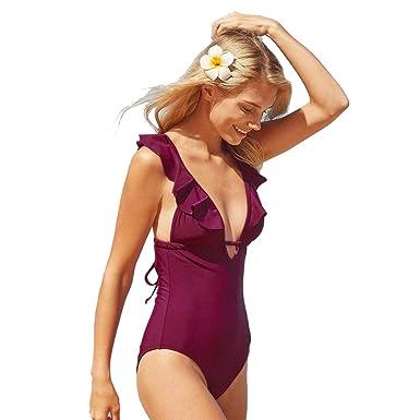 große Auswahl Qualität und Quantität zugesichert Tiefstpreis SEDEX Badeanzug Damen Sexy V-Form Ausschnitt Einteiler Badeanzug Damen  Bauchweg Monokini Sport Bademode Frauen Mollige Große Größe Schwimmanzug