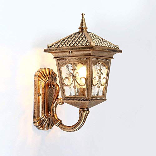 QT Modeen Antique Classic Outdoor 1-Lights Glass Lantern Wall Lamp Outdoor Double Headlight Tradition Continental Victorian Patio Garden Villa Balcony E27 Decoration Wall Sconce -