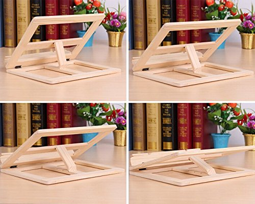 P2P@zita Wood bookstand laptop iPad book stand holder/Document stand holder Reading stand with 4 Adjustable Positions by P2P@zita (Image #1)