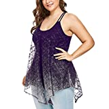 Plus Size Tops Women Perspective Gradient Mesh Tank Up Sleeveless Camis O-Neck Blouse Fashion T-Shirt Purple