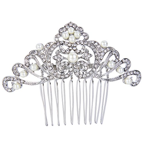 EVER FAITH Silver-Tone Austrian Crystal Wedding Cream Simulated Pearl Flower Wave Hair Comb