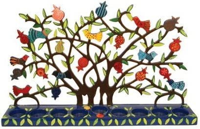 Yair Emanuel Large Blue Menorah with a Tree Design and Birds in Lazer-Cut Metal World of Judaica