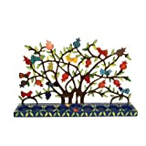 Pomegranate and bird tree Hand painted Laser Cut Metal Hanukkah Menorah by Yair Emanuel