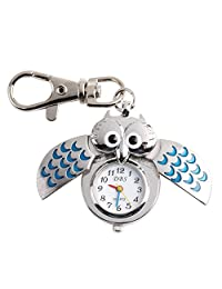 CSMARTE Pocket Watch- Blue Owl Style Bronze Steampunk Quartz Watch with key chains by CSMARTE