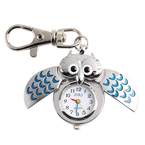 CSMARTE Pocket Watch- Blue Owl Style Bronze Steampunk Quartz Watch with key (Keychain Pocket Watch)