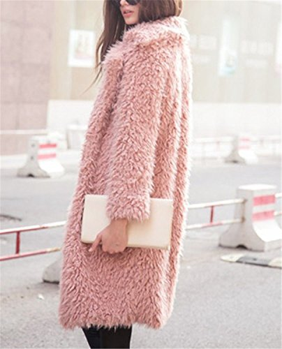 Abrigo Abrigos Cárdigan Escudo Moda Invierno Shaggy de de de YOGLY Peluche Lana Rosa Fluffy de Chaqueta Mujer OqgBBw