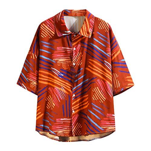Homeparty Hawaiian Style Men's Summer Short Sleeve Shirt Casual Printing Loose Tops Blouse Red