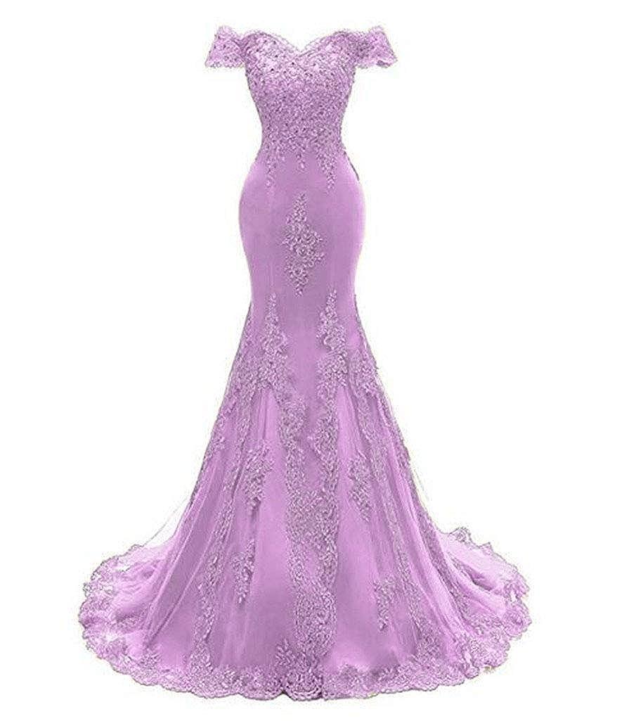 Lavender Aiyue Yishen Women's Mermaid Strapless Applique Prom Dresses Short Sleeve Long Evening Dresses