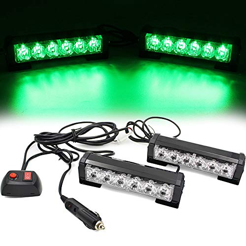 (FOXCID 2 X 6 LED 9 Modes Traffic Advisor Emergency Warning Vehicle Strobe Lights for Interior Roof/Dash/Windshield/Grille/Deck Universal Waterproof (Green))