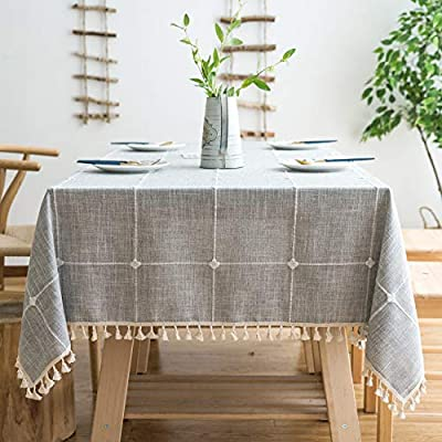 """MoMA Rustic Lattice Tablecloth (55""""x70"""") Cotton Linen Grey Rectangle Table Cloths for Kitchen Dining - Table size: tablecloth size 55 x 70 inches, suit for table size range: 31"""" x 46"""" to 39"""" x 54"""", small rectangle/oval table, 4 - 6 seats Material and functions: made of mid-weight durable cotton linen, non-slip, moderate stain resistant and machine washable Design and decors: decent elegant modern design, neutral not wild, embroidered simple pattern, cute fringe tassel pom-poms edge - tablecloths, kitchen-dining-room-table-linens, kitchen-dining-room - 51tT1xHMOOL. SS400  -"""