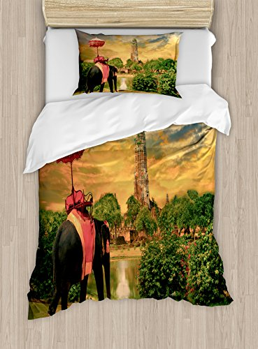 Ambesonne Elephant Duvet Cover Set Twin Size, Elephant Dressing with Thai Kingdom Tradition Accessories Pagoda in Ayuthaya, Decorative 2 Piece Bedding Set with 1 Pillow Sham, Green Marigold by Ambesonne