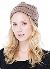 """This soft, stretchy beanie has chunky vertical rib knit interspersed with alternating horizontal knit. Circumference of hat opening: 18"""". 100% Acrylic. Made in China"""