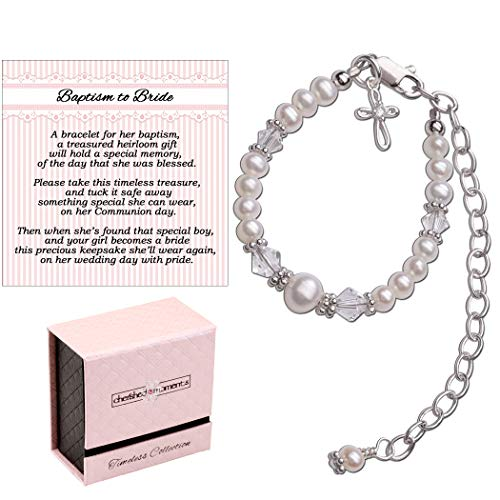 Baptism to Bride Cross Bracelet for Girls in Sterling Silver and Cultured Pearl - Cross Baptism Babys