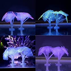 Glumes Silicone Coral Plant Decorations Glowing Artificial Ornament for Fish Tank Aquarium,Ball Shape Used for Household and Office Aquarium Simulation Plastic Hydroponic Plants
