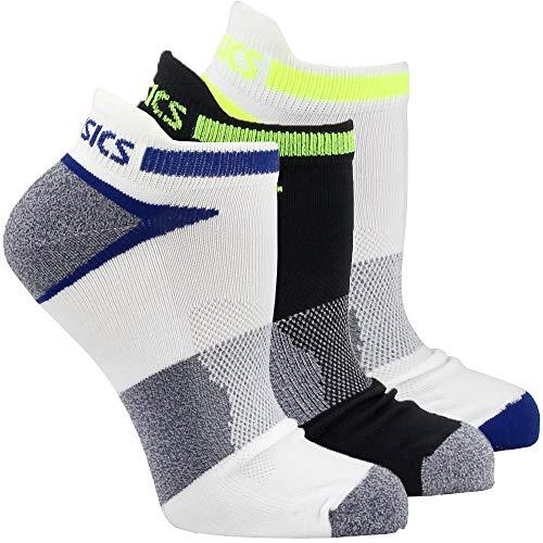 ASICS Unisex Quick Lyte Cushion Single Tab Socks (3 Pairs), Indigo Blue Assorted, Large