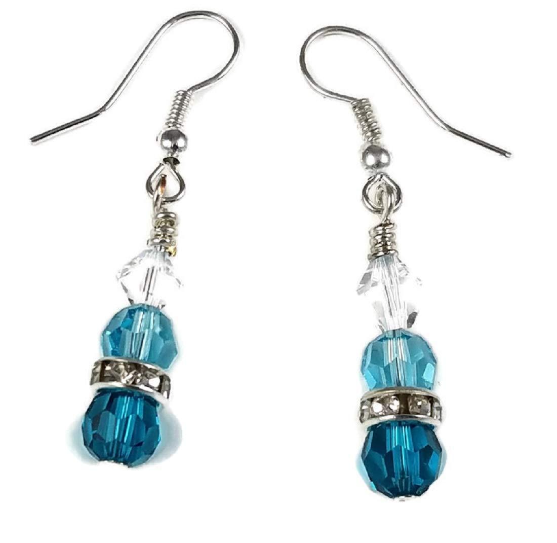 Amazon Com Swarovski Crystal Earrings Ovarian Cancer Awareness Teal Turquoise Sparkling Ice Crystals Handmade