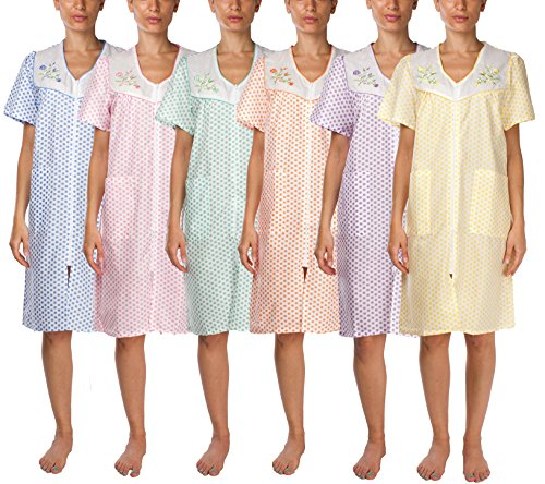JOTW 6 Pack Shift Duster Housekeeping Dress - Medium To 3X Available (2011) (Extra (Zip Shift Dress)