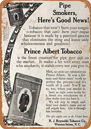 (MMGHGT Vintage Look Metal Sign - 1910 Prince Albert Pipe and Cigarette Tobacco Wall Plaque Sign 8X12 Inch)