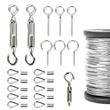 AUSPA Outdoor Lights Hanging Kit, String Lights Suspension Kit, 164ft Steel Cable, String Light Guide Wire, Hook & Eye Turnbuckle Wire Rope Tension (Light Accessories #1)