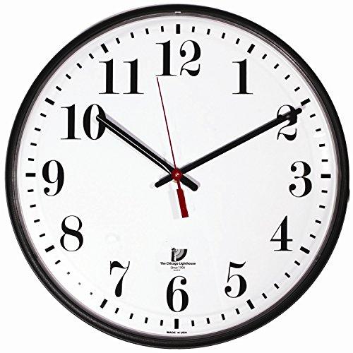 Chicago Lighthouse Large Quartz Slimline Clock, 12-3 4 , Black 67300002