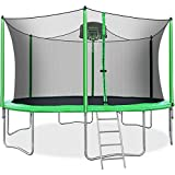 Merax 14 FT Round Trampoline with Safety Enclosure, Basketball Hoop and Ladder