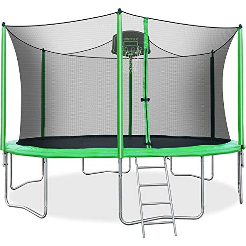 Merax 14 FT Round Trampoline with Safety Enclosure, Basketball Hoop and Ladder (14 FT)