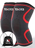 Knee Compression Sleeve ( 1 Pair / sackpack ) by Tengyes - Best Knee Support Brace for ACL, MCL, Volleyball, Powerlifting, Basketball, Running, Sports - Knee Sleeves for Women & Men (Medium, Red)