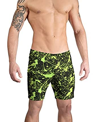 Vuthy Sim Brand Men's Swim Board Shorts In Neon Green