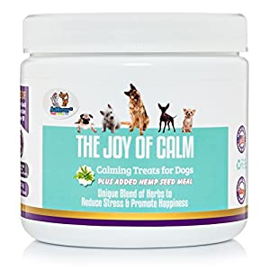3. AuMeow Anxiety Relief Dog Treats, 8oz Jar
