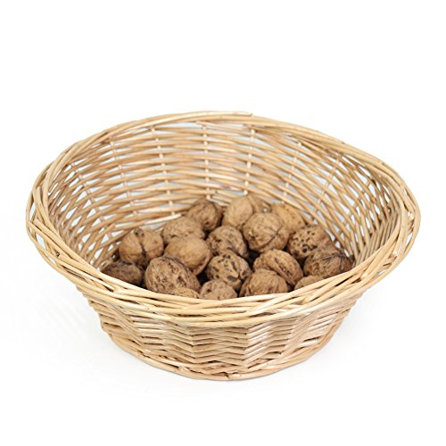 MEIEM Cheap Wicker Fruit Basket Bread Tray Storage Basket, Cheap Fruit bowl, Round Stackable Basket.(Large)