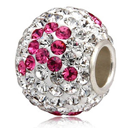Jan-Dec Birthstone Charm Beads Silver 925 Core Austrian Crystal Round Ball Charms fit All Charm Bracelets Women Girls Gifts Pink Ribbon Charm