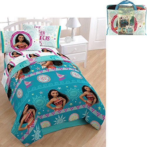 NEW! Disney Moana 4-Piece Twin Size Bed in a Bag Bedding Set for Kids Made of 100% Polyester includes Reversible Comforter, Flat Sheet, Fitted Set, and Pillowcase, Plus Bonus Tote Bag