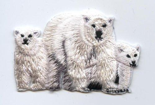 Polar Bear Patch (Polar Bear Family Iron On Embroidered Applique)